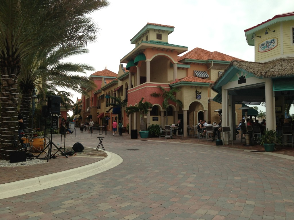 Cape Harbor in Cape Coral. Main Plaza in front of Longboards Cabana where bands play live music.