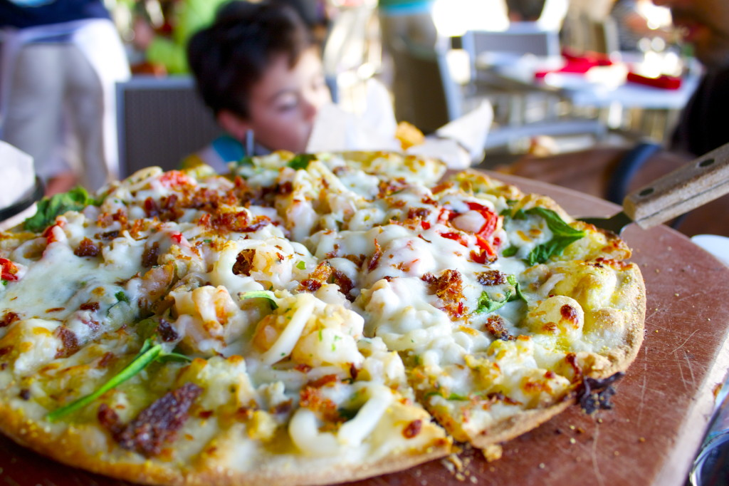 Enjoying weekday family dinner at the Joint. This seafood pizza was amazingly fresh and we all love the thin crunchy crust.