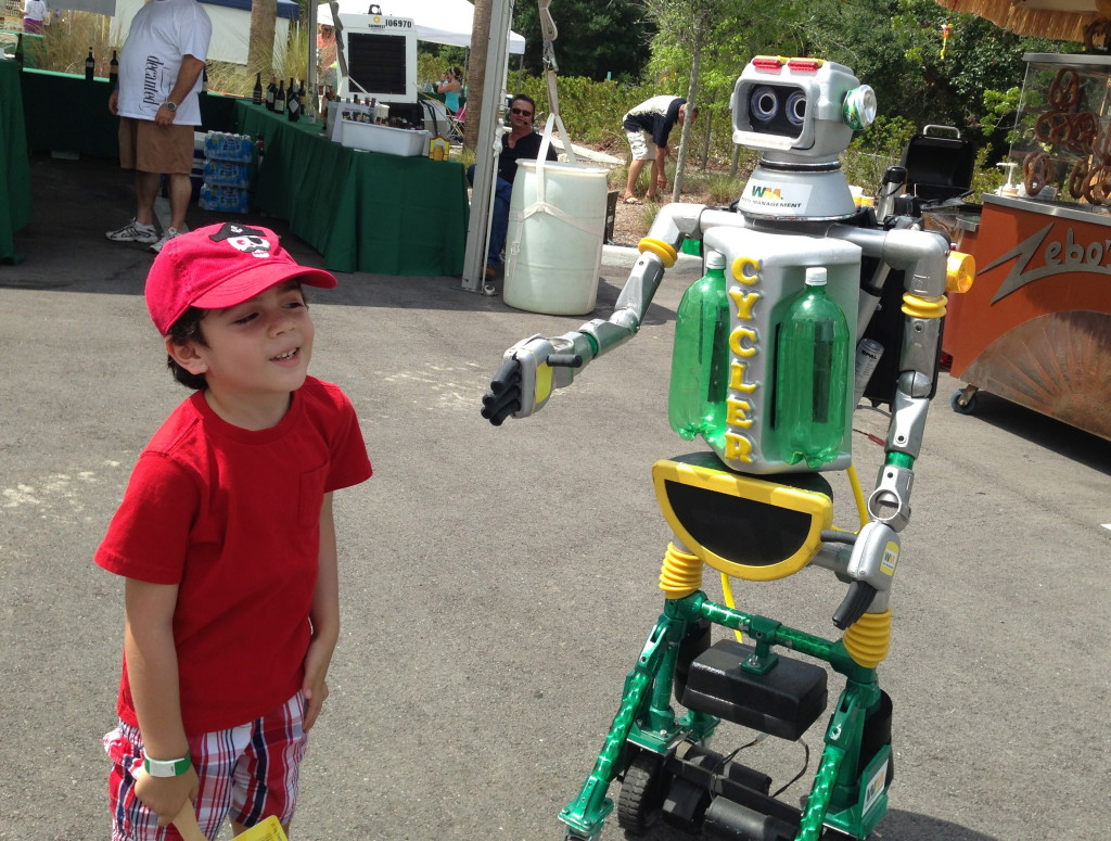 The robot was a hit with young and old.