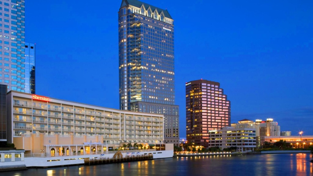 The Sheraton Tampa Riverwalk, view from the river. Photo: Courtesy Sheraton Tampa Riverwalk .