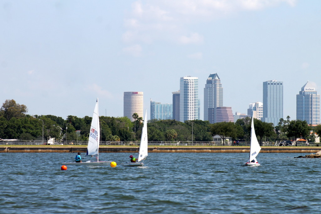 Sailboats on Tampa Bay with a beautiful view of the city skyline behind them.  Photo: Paula Bendfeldt-Diaz. All Rights Reserved.