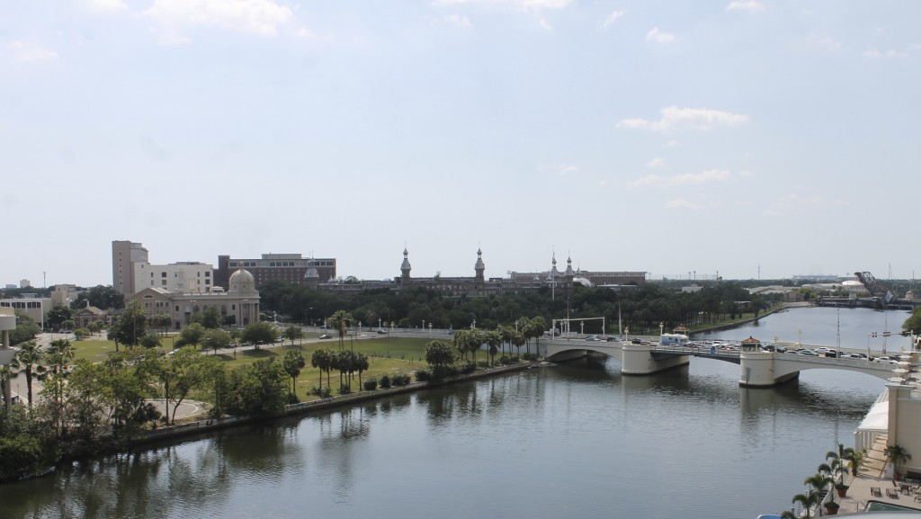 View of the Hillsborough River and the University of Tampa from our room.