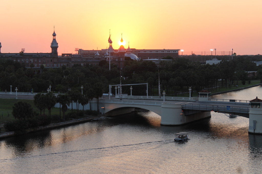 The breathtaking view from our room. The sun setting behind the Tampa University with the Hillsborough river in the foreground.