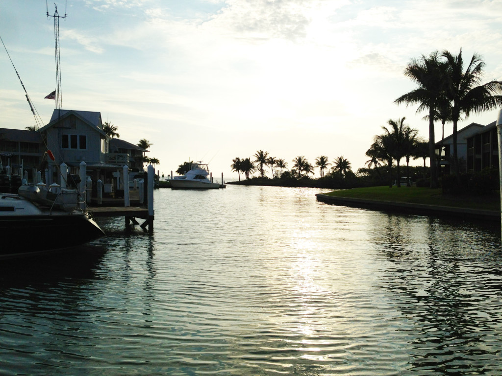 Sunrise at the marina in South Seas Island Resort.  Photo: Paula Bendfeldt-Diaz. All Rights Reserved.