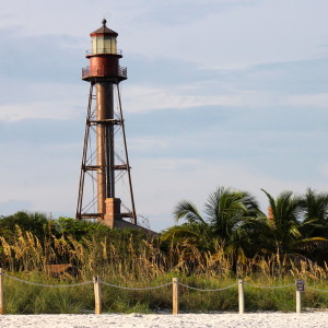 Sanibel lighthouse seen from beach