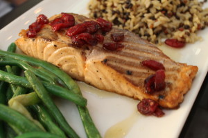 honeyed salmon with cranberries
