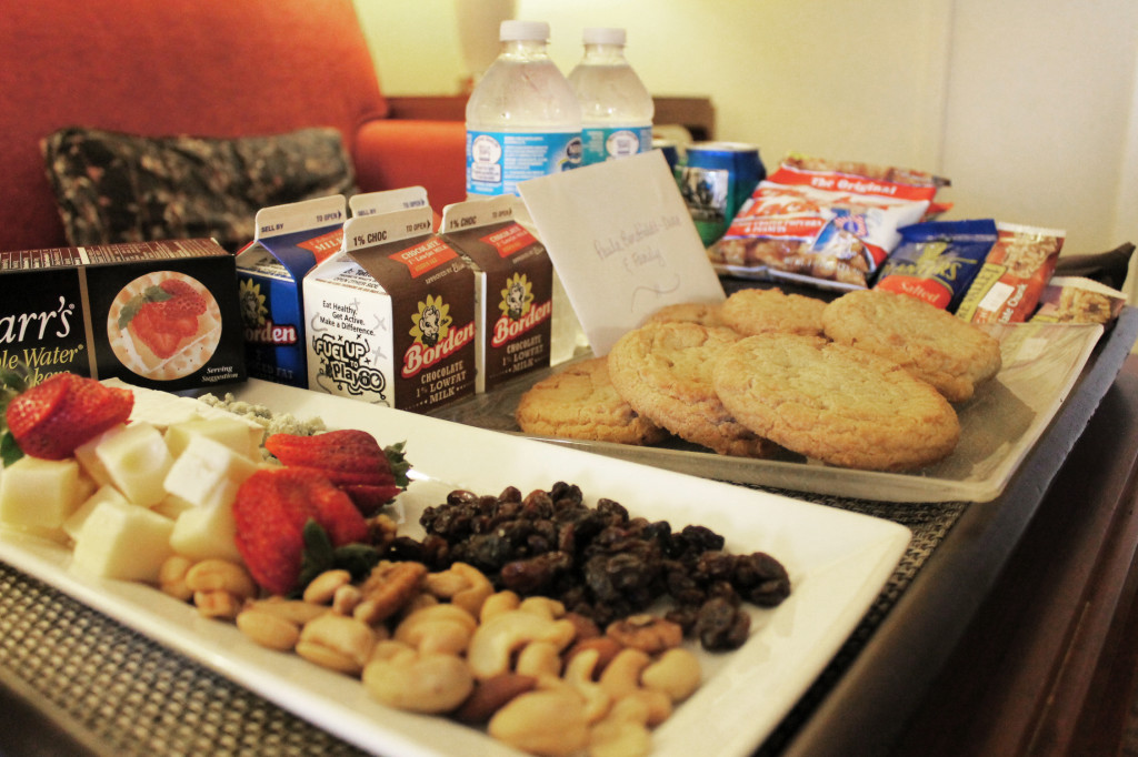 snacks and cookies in hotel room
