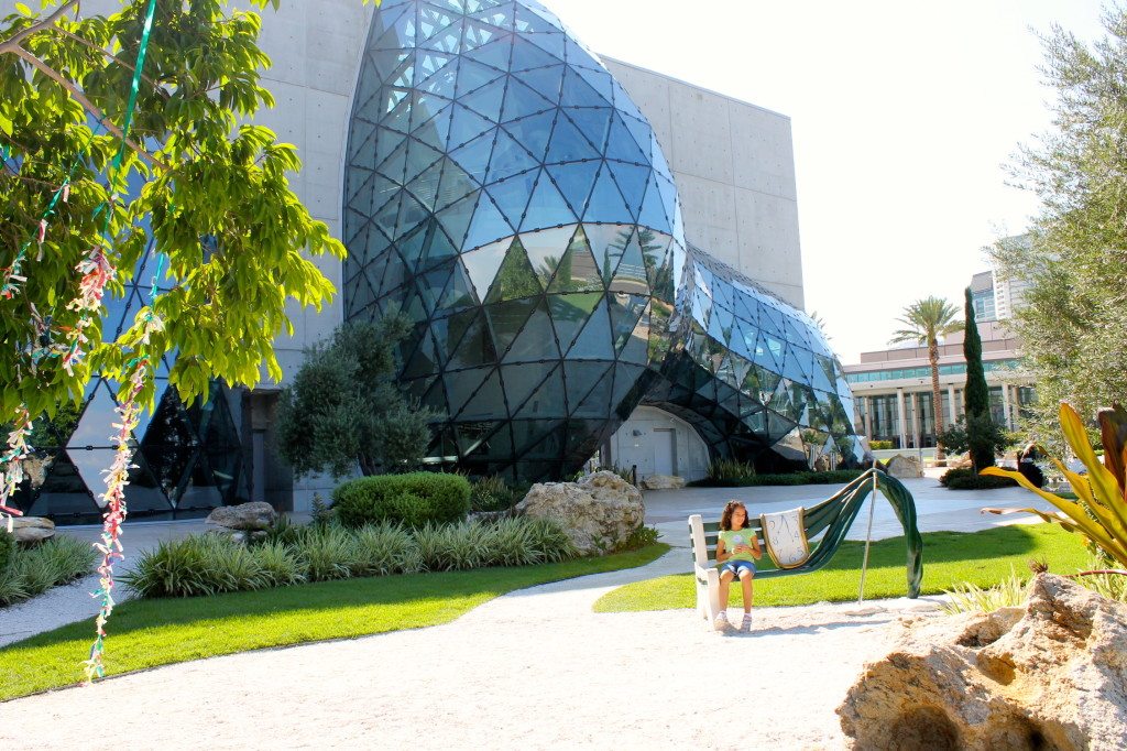 The Dalí Museum view of building from garden