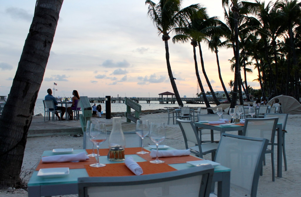 dinner tables on the beach