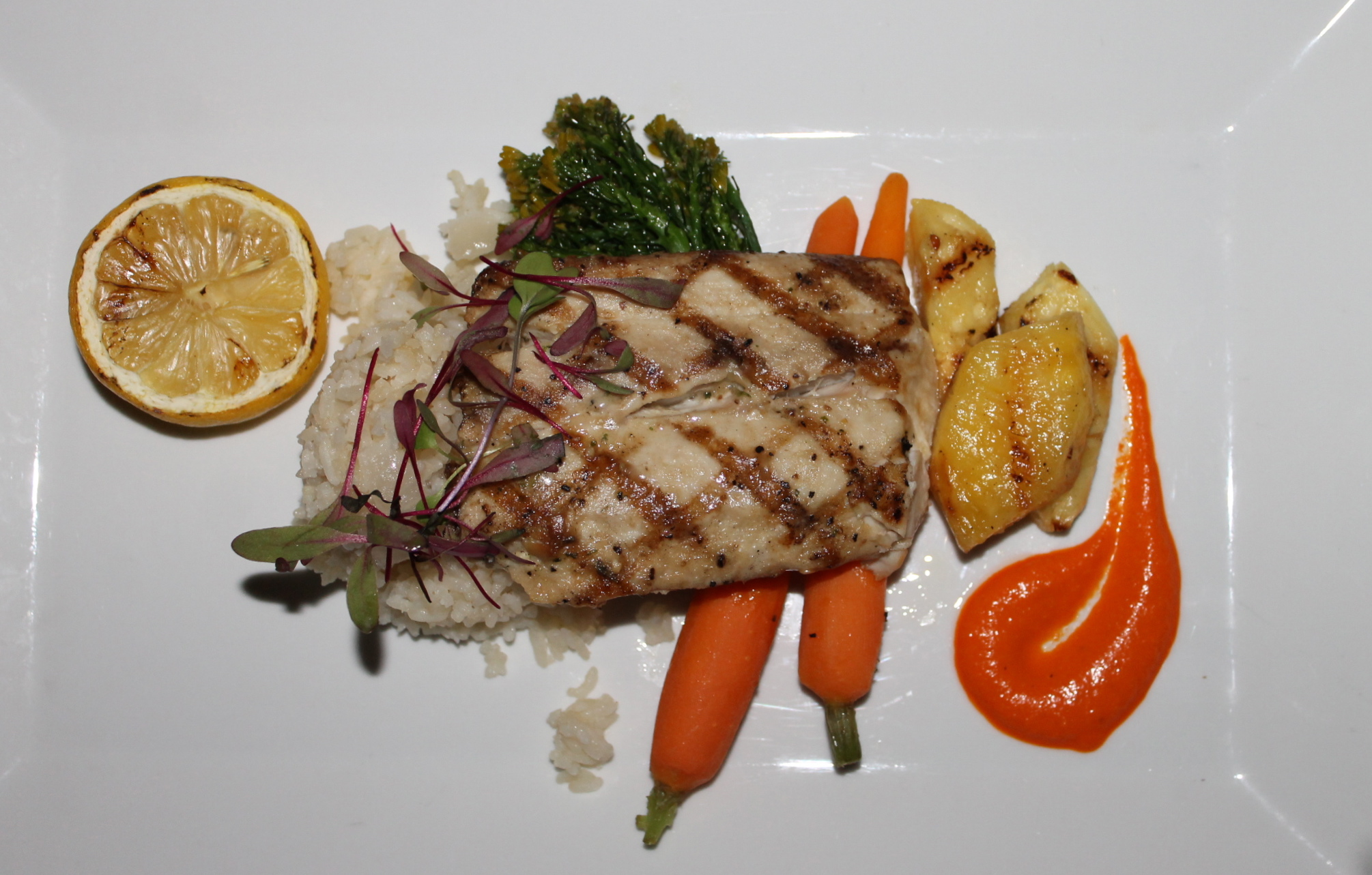 ... soft flavor of the mahi-mahi perfectly paired with roasted pineapple