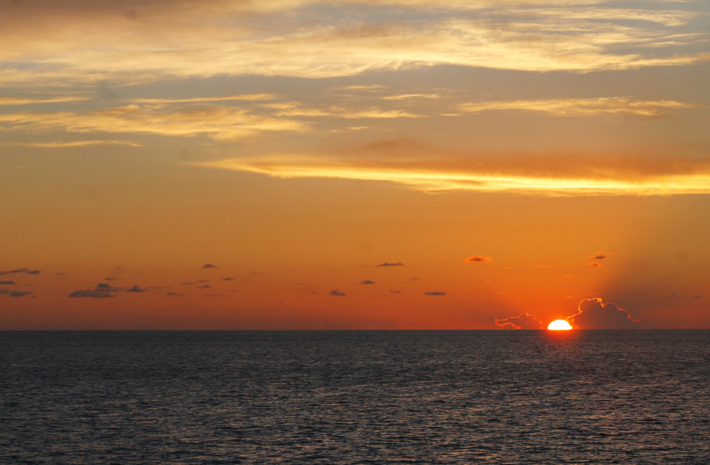 Sunset over the water abourd the Key West Express