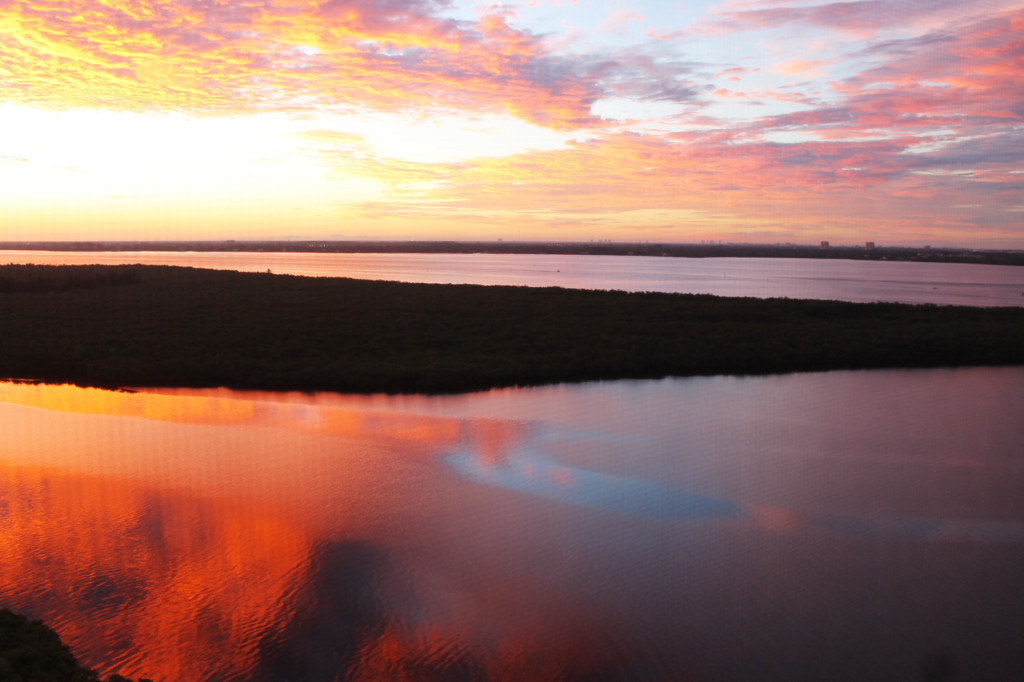 sunrise over the Caloosahatchee river and the Gulf of Mexico