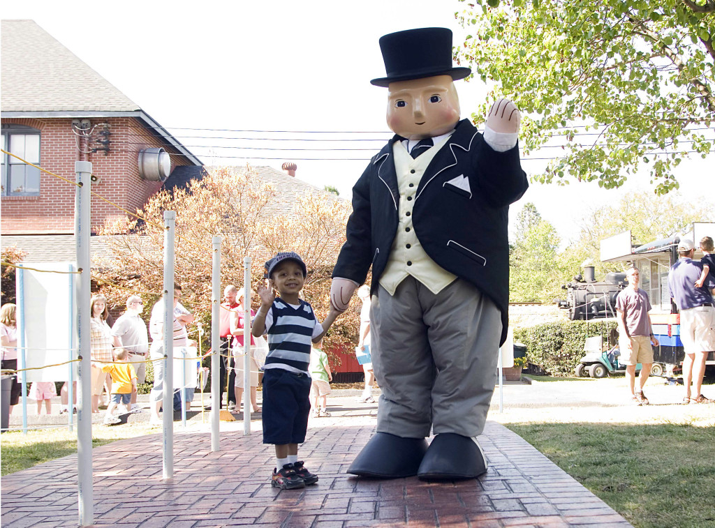 Sir Topham Hatt greets a young fan