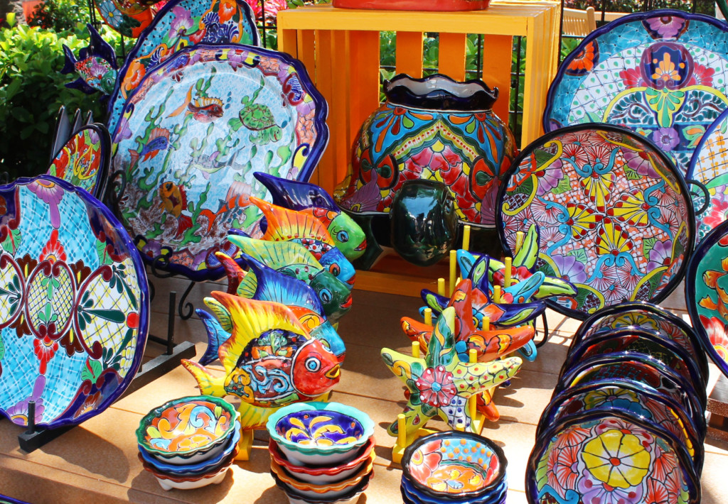 Brightly colored hand painted ceramic during Viva La Musica Latino festival at SeaWorld.