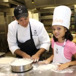 Little Chef's pizza class at the Waldorf Astoria Naples. Working with the dough.