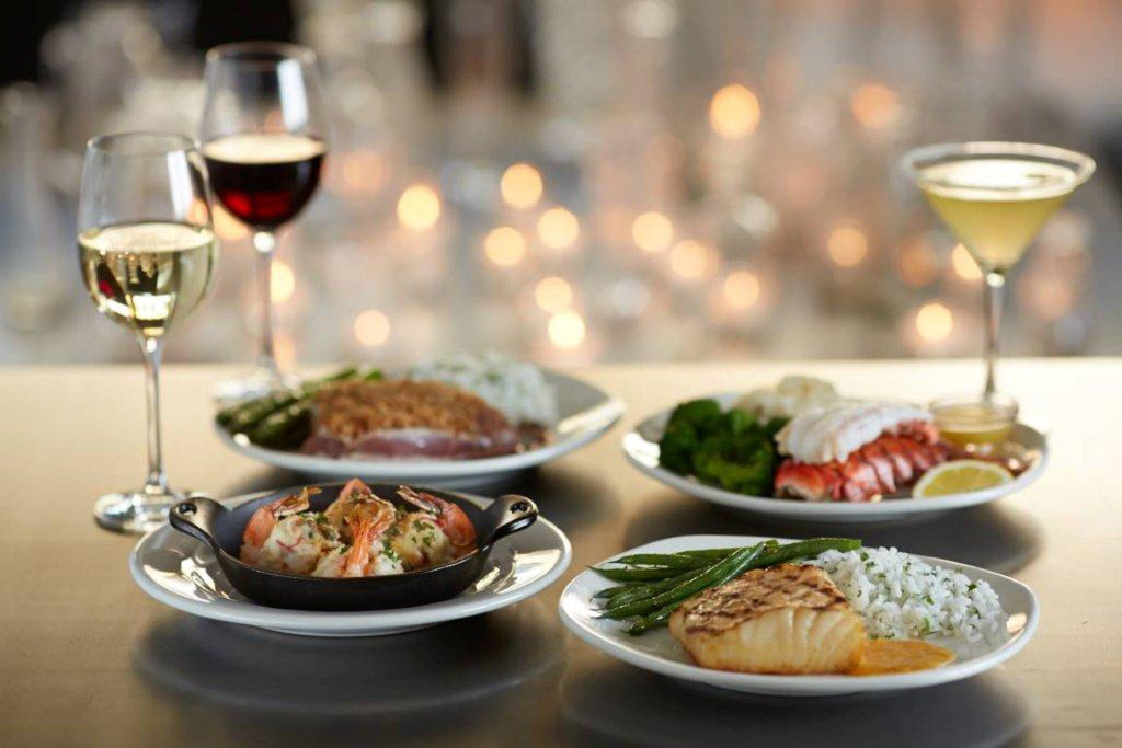 The new dishes available at Bonefish Grill. Pretzel-Crusted Ahi Tuna Steak,  Cold Water Lobster Tail Dinner, Lobster Stuffed Shrimp and Misoyaki Chilean Sea Bass.