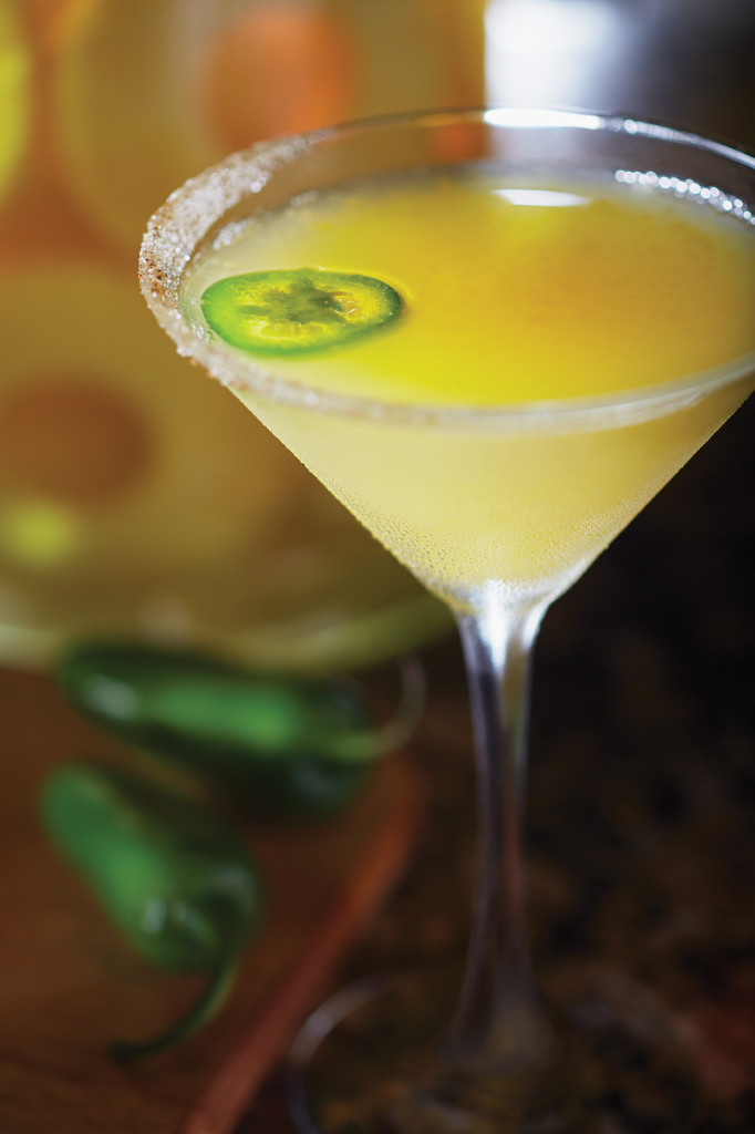 Tropic Heat Martini with mango and jalapenos