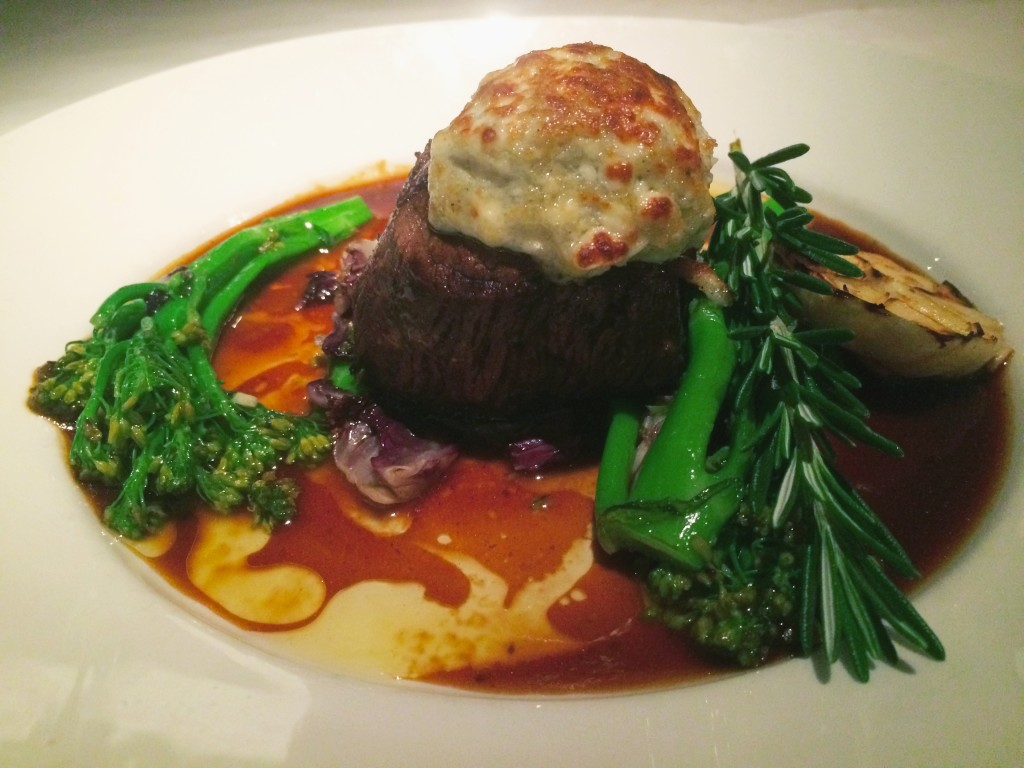 Gorgonzola-Parmesan cheese crusted beef filet at Pazzo Restaurant Naples