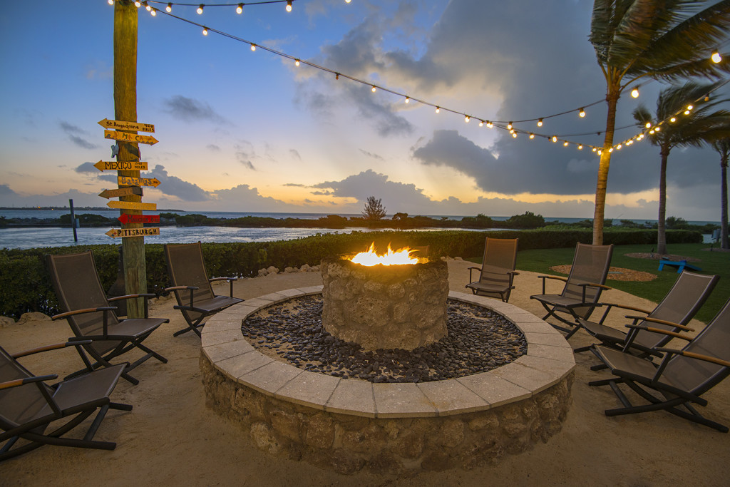 Firepit at sunset in the kid's free area.