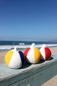 beach ball painted pumpkins for Florida Fall decorating