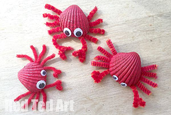 Crab Magnets Shell crafts to do with kids