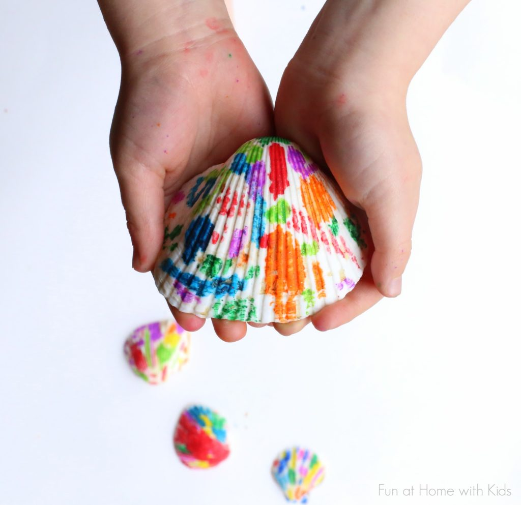 Melted Crayon Seashells Shell crafts to do with kids