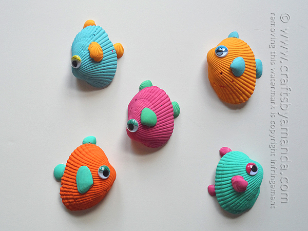 Tropical Seashell Fish Shell crafts to do with kids